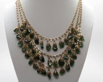 """Vintage 17"""" Triple Row Natural Jade Adjustable Fringe Necklace"""