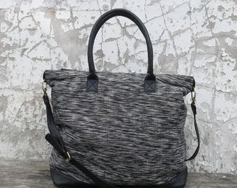 Sunauli Handwoven Cotton / Leather Trim Weekender