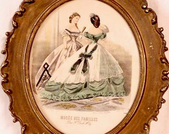 French fashion ladies in antique gold frame--19th century engraving