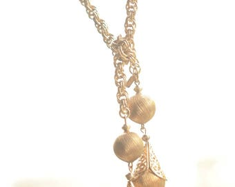 Vintage Monet lariat, Bolero 60th gold plated extra long chain necklace,gold toned ball pendant, free size, teardrop, filigree lariet