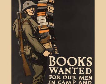 Books Wanted for Soldiers Poster - World War I Art - Vintage Print Art - Home Decor