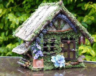 Fairy House - Woodlands Cottage - Nite Light, Fae, One of a Kind, Miniature House, House Warming, Home Decor, Fairy Miniature, Dollhouse