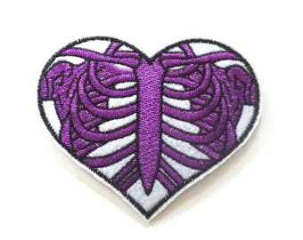 Purple Rib Cage Heart Shaped Iron on Patch, Skeleton Patch - H405