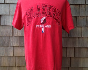 90s vintage Portland Trail Blazers T shirt - embroidered - Large - Trailblazers