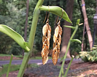 Golden Etched Leaf Dangle Earrings