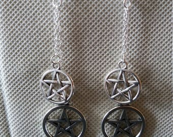 Pentacle earrings, pagan, wicca, wiccan, wiccan jewlery jewlery, pentagram, protect