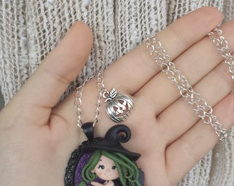 Series Witch Fimo Halloween witch handmade Necklace gift Idea