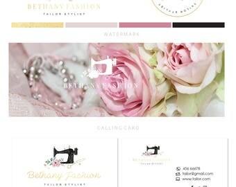 Logo design - Premade sewing logo - Sewing machine logo - Floral sewing logo design