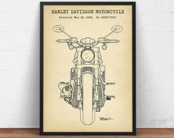 Harley Davidson Motorcycle Blueprint Art, Motorcycle Patent Print, Gift For Him, Motorcycle Poster Printable Digital Download Wall Art Decor