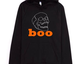 Halloween Hoodie, Skull Hoodie, Boo Hoodie, Tumblr Hoodie, Tumblr Aesthetic, American Apparel Hoodie, Cotton Hoodie, Funny Hoodie, Black