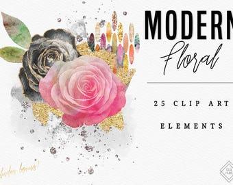 Modern Floral Clipart - Watercolor Flower Clipart - Rose Clipart - Flower Clip Art - Pink Water Color Flowers - Glitter Rose Flower Clipart