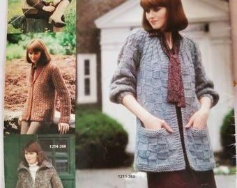 1980 Bernat Sweater Coats Knitting Pattern Book Not a PDF