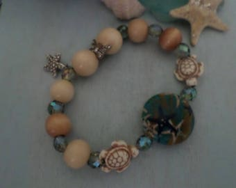 Beach Bracelet with Sea Turtles and a Starfish Charm