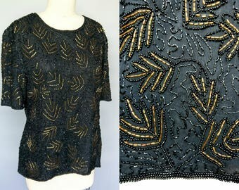 golden hour / 1980s stenay black and gold sequin blouse with leaf motif / 16 18 large xl