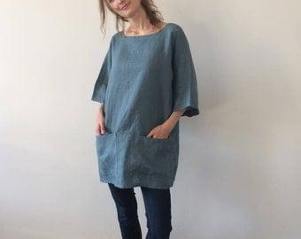 Blue Green Linen Tunic, Linen Tunic, Women Tunic, Summer Tunic, Loose Linen Tunic, Tunic Top, Womens Tunic, Linen Tunics Plus Size, Tunic