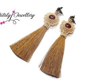 Gold brown earrings Classic jewelry Long earrings Boho jewelry Beadwork Dangle earrings Tassel earrings Gift for bride Bead earrings