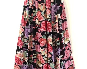 Vintage Shabby Chic Garden Party Pleat Long Skirt ~  Size AU 12 ~ US 10 ~ Rose Red Dusty Pink