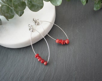 red stone earrings, silver earrings, red coral earrings,
