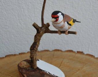 Hand carved European goldfinch - Carduelis carduelis - bird sculpture from shorebirdspl
