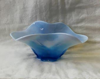 Duncan Miller Blue Opalescent Glass Bowl