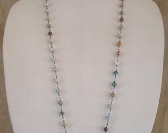 Amazonite necklace, cross necklace, amazonite chain, long necklace, bead necklace, cross pendant