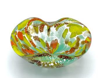 Murano Glass Bowl or Retro Ashtray: Tutti Frutti Colors, circa 1960 w/ Multicoloured Filigrana & Silver Foil Inclusions mostly on Outside