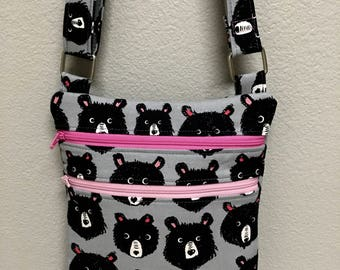 Zip N Go Crossbody Shoulder bag Cotton + Steel Teddy and the Bears Travel Passport Kindle iPad Mini Black Grey Pink