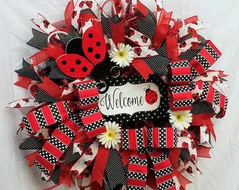 Ladybug Welcome Wreath | Spring Wreath | Summer Wreath | Spring Door Decor | Front Door Wreath | Porch Wreath | Gift for Mom | Ladybug Decor