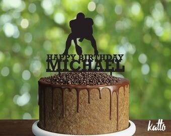 Football Birthday Cake Topper, Birthday Cake Topper, American Football YOUR NAME Cake Topper, Custom Cake Topper, Christmas Gift