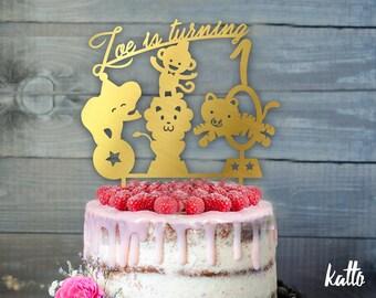 Circus Birthday Cake Topper- Customizable Birthday Cake Topper- Circus Cake Topper-Silhouette circus animals Cake Topper- Custom Cake topper