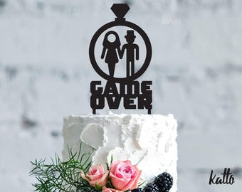 Wedding Cake Topper GAME OVER cake topper, Wedding Cake Topper,Customizable Wedding Cake Topper,Cake Topper for Wedding,Christmas Gift