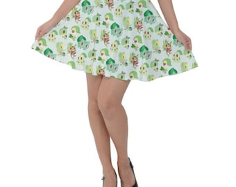 Grass Pokemon Skirt - Short Skirt Bulbasaur Skirt Treecko Skirt Chespin Skirt Chikorita Skirt Pokemon Skirt Grass Pokemon Plus Size Skirt