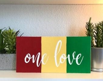 One Love Reggae Rasta pallet sign | reclaimed pallet wood home decor