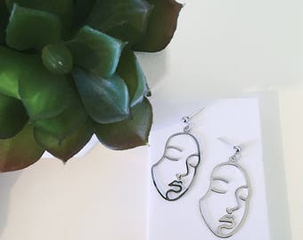 SILVER FACE EARRINGS wire - silver earrings handmade silver hoop earrings silver geometric earrings gift for her - dainty earrings