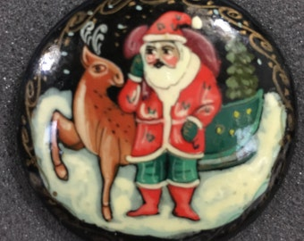 Vintage hand painted Santa with Reindeer pin hand made in Russia