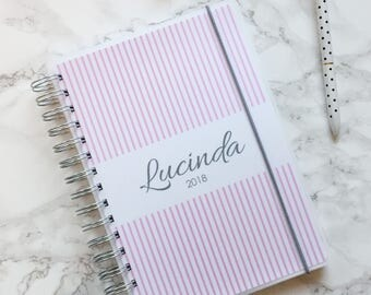 Personalised 2018 A5 Planner/Diary with or without tabbed dividers - Pinstripes