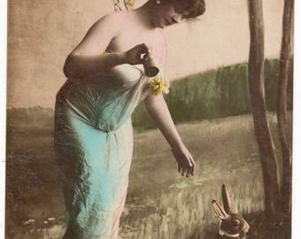 Vintage Easter Real Photo Postcard, GLAMOUR, Woman with FAIRY Wings, BUNNY, Oranotypie Steglitz , c1904