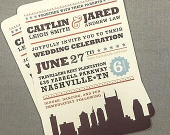 Nashville 5x7 wedding Invitation