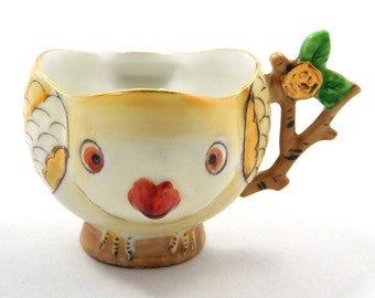 Handpainted Yellow Bird Tea Cup, Made in Japan, Gold accents, Branch handle, TS marking