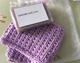 Lilac Cotton Wash Cloth and Scented Soap Gift Set, Lavender and Lime Soap Bar With Knitted Organic Cloth And Mother Gift Tag For Mothers Day