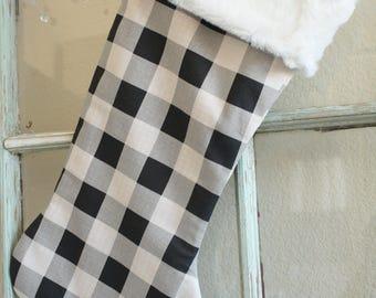 Black Check Stocking--Fur Cuff #19