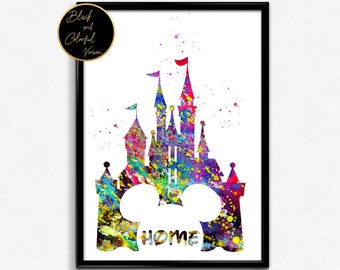 Castle Kids Room Decor, Tale, Watercolor, Poster, Home Decoration, gift, Print, Wall Art (411)