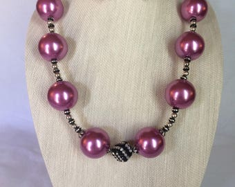 Pink and Black Necklace Earring Set