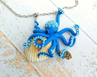 Glow in the dark Glow necklace Ocean necklace Octopus jewelry Octopus necklace Summer gifts Summer necklace Shell necklace Octopus tentacle