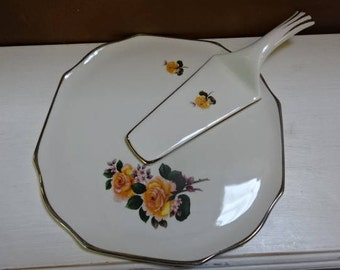 Gorgeous Lord Nelson Pottery/Cake Plate & Server/Yellow Rose/Vintage/1970s