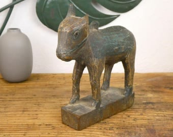 Old wooden statue carved - Holy cow