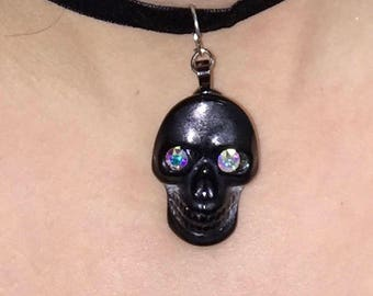 Glass Skull Choker Necklace
