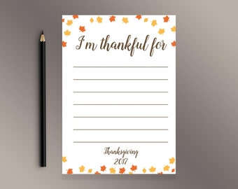 Thanksgiving Thankful Cards, Notecards Table Setting,  I'm Thankful  For Card, Décor for Thanksgiving dinner,  Autumn Leaves Grateful  Cards