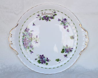 Royal Albert February Cake Plate, Vintage Royal Albert Bone China, Flower of the Month Series Violets Cake Plate, Serving Plate England