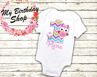 Owl 1st Birthday Outfit,  One Piece, 1st, 2nd, 3rd, 4th, 5th Birthday Shirt / Owl Birthday Girl Shirt, Pink ONE Birthday outfit, 1st Owl
